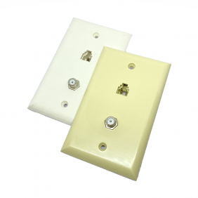 WP-81P  Wall Plate with one F-81 splice and one RJ-11 phone jack, ivory and white color